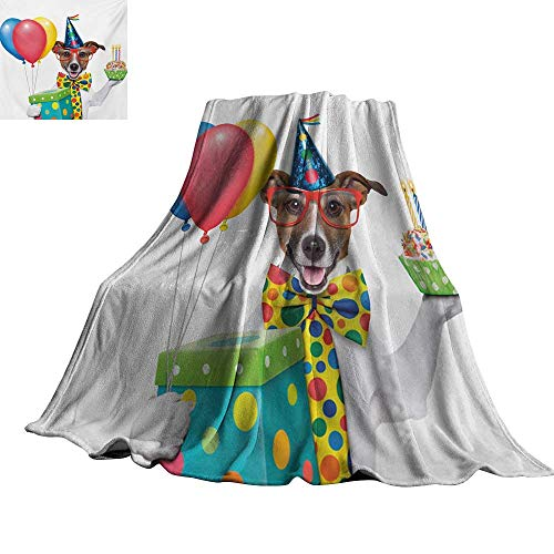 (Kids Birthday,Personalized Blankets Waiter Server Party Dog with Hat Cone Cupcake Balloons Celebration Boxes All Season Blanket 60