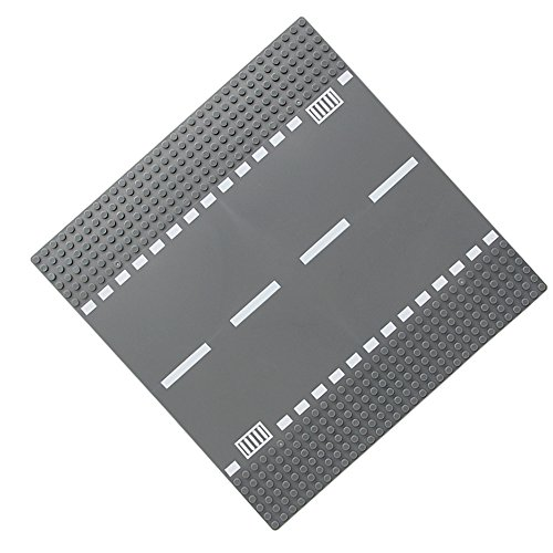 Feleph City Straight/Curve/ T-Junction/Crossroad Road Base Plate 8802 Building Kit 10 x 10 Baseplate for Building Bricks Compatible with All Major Brands?Grey? (Straight)