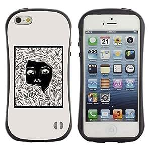 Suave TPU GEL Carcasa Funda Silicona Blando Estuche Caso de protección (para) Apple Iphone 5 / 5S / CECELL Phone case / / Girl Black White Poster Beige Pencil /