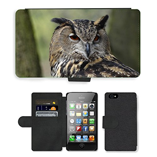 Just Phone Cases PU Leather Flip Custodia Protettiva Case Cover per // M00128358 Eagle Owl Owl Forêt Night Bird // Apple iPhone 4 4S 4G