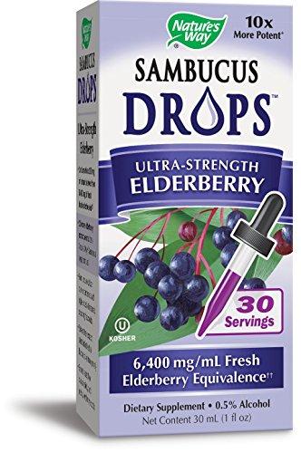 Nature's Way Sambucus Drops Ultra-Strength Elderberry Liquid, 1 Fluid (Black Elderberry Liquid)