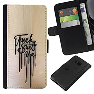 ZCell / HTC One M7 / Up Mess Aggressive Poster Message / Caso Shell Armor Funda Case Cover Wallet / Arriba lío agresivo Cartel Mensaje