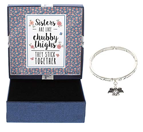 Charm Bracelet Poem Gift Box - Sister Bracelet Gift Set Sisters are Like Chubby Thighs Jewelry Box with Angel Charm Poem Inscribed Bangle and Sisters Blessing Bookmark