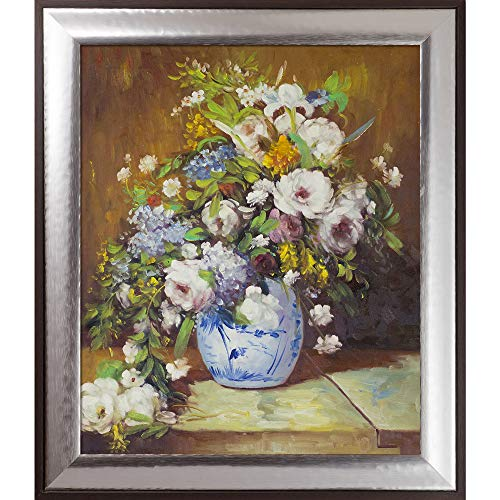 overstockArt Grande Vase Di Fiori by Pierre-Auguste Renoir Hand Painted Oil on Canvas with Brasovia Frame, 26.5 x 30.5
