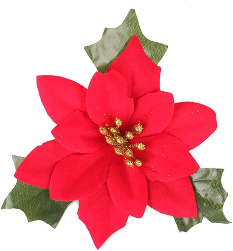 10 PCS 5 Inches Red Poinsettia Flowers Artificial Christmas Wedding for Christmas Flowers Tree Crafts and Wreaths Decor Ornaments by Baryuefull