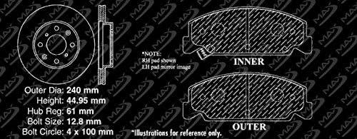 Fits: 1995 95 Honda Civic Del Sol w//o ABS; Non V-TEC Models Max Brakes Front Performance Brake Kit Premium Slotted Drilled Rotors + Ceramic Pads KT002331