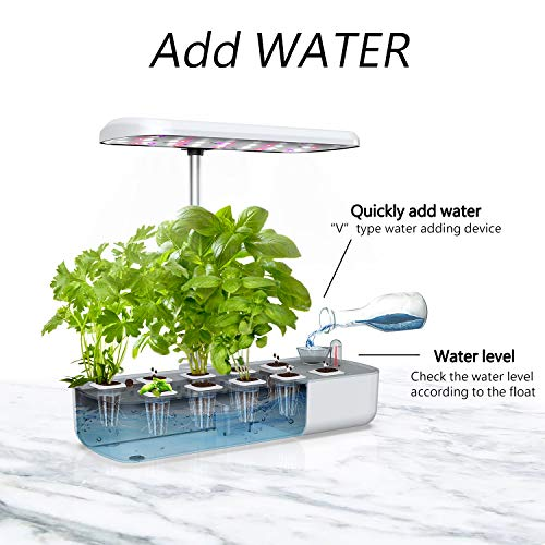 WISREMT Hydroponics Growing System, Indoor Herb Garden Starter Kit with LED Grow Light, Smart Garden Planter for Home Kitchen, Automatic Timer Germination Kit
