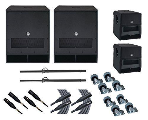 2x Yamaha DXS18 Subwoofer Speaker +Stands +Covers +Mogami Cables +Wheel Kits by Yamaha