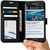 Abacus24-7 Samsung Galaxy S7 EDGE Case, Wallet with Flip Cover and Stand, Black