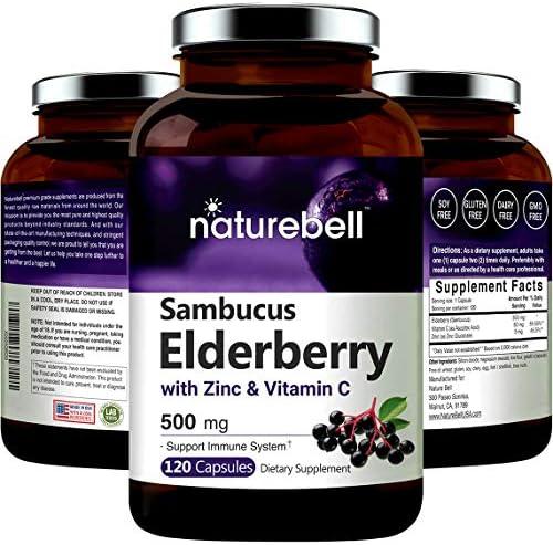 Sambucus Elderberry Capsules Immune Support, with Zinc and Vitamin C, 500mg,120 Capsules, Immune Vitamins and Zinc Vitamin to Support Immune System and Antioxidant, Non-GMO