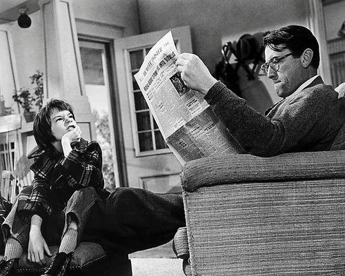 To Kill a Mockingbird Gregory Peck reads newspaper Mary Badham 8x10 Promotional Photograph