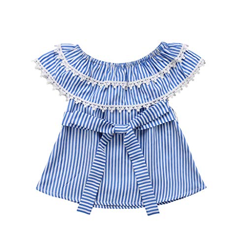 Anxinke Toddler Girls Summer Short Sleeve Off Shoulder Plaid Belted Dress(18-24M) Light Blue