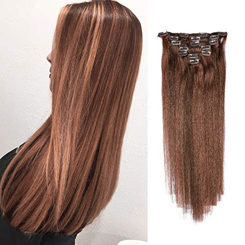 Labetti Highlight Blonde Clip in Human Hair Extensions 70g 7pcs 16 Clips Silky Straight Remy Human Hair Extension Gift for Girl Lady Women (18 inch, 4/30 Medium Brown to Medium Auburn)
