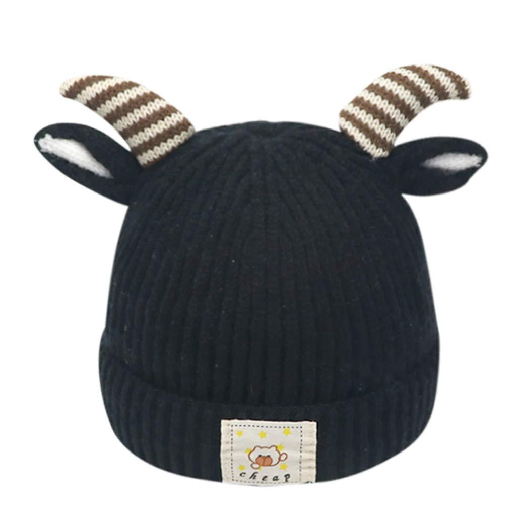 Toraway Kids hat Solid Color Beanie Fashion Baby Boys Girls Knitting Wool Hemming Hat Solid Keep Warm Winter Cap