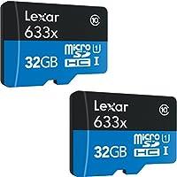 2-Pack Lexar microSDHC UHS-I 633X 32GB High-Performance Memory Card