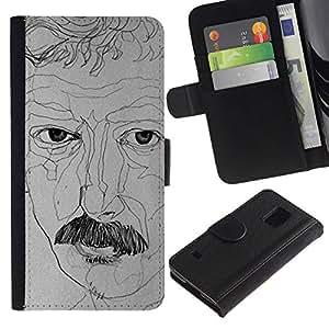 All Phone Most Case / Oferta Especial Cáscara Funda de cuero Monedero Cubierta de proteccion Caso / Wallet Case for Samsung Galaxy S5 V SM-G900 // retratista dibujo bigote arte