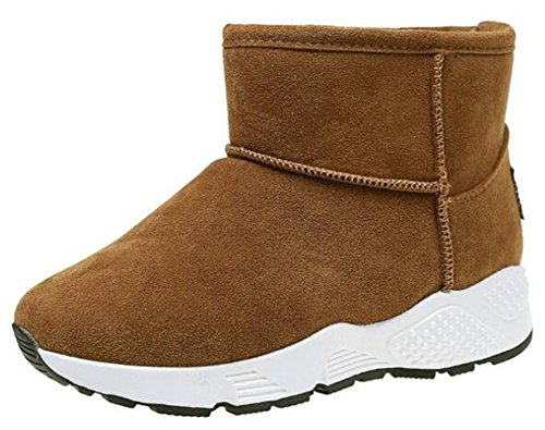 IDIFU Womens Warm Fleece Lined Pull On Ankle High Snow Boots Winter Booties With Low Wedge Heels Khaki GfIVhh