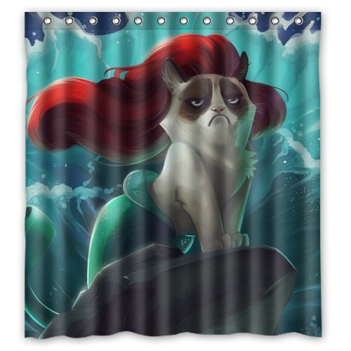 Sexy Mermaid Grumpy Cat Custom Bath Curtains Waterproof Polyester Shower Curtain 66 X 72 inches