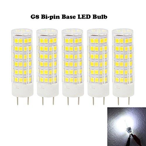 Ashialight LED G8 Bulb-120 Volt 50 Watt G8 Base Bulb,Daylight,50W T4 JC Type,Equal 120V 50W G8 Bi-Pin Base Halogen Light Bulb (Pack of 5)