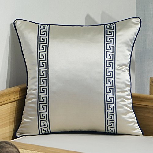 HOMEE Pillow New Modern Chinese Sofa Pillow Chip-Head of the Largest Backrest Jacquard Pillow ,50X50Cm, Dual Back to the Field,Double-back to the field,45x45cm