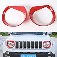 FMtoppeak Red Head Lights Trim Lamp Cover Headlights Chromium Styling ABS Ring Bezel Decoration For Jeep Renegade 2014 UP