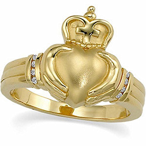 Claddagh Duo - 0.05 CTTW Diamond Claddagh Ring in 14k Yellow Gold (Size 6 )