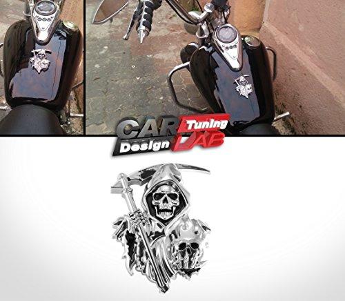 3d Custom Chrome Reaper Skull Emblem Badge Snake Cobra Sticker Car Trunk Motorcycle Fuel Tank CarLab