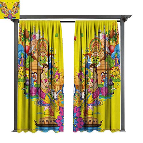 bybyhome Drape for Pergola Curtain Modern Fan Cooler Logo Fresh Air Propeller Summer Warm Artful Illustration Print W84 xL96 Suitable for Front Porch,pergola,Cabana,Covered Patio