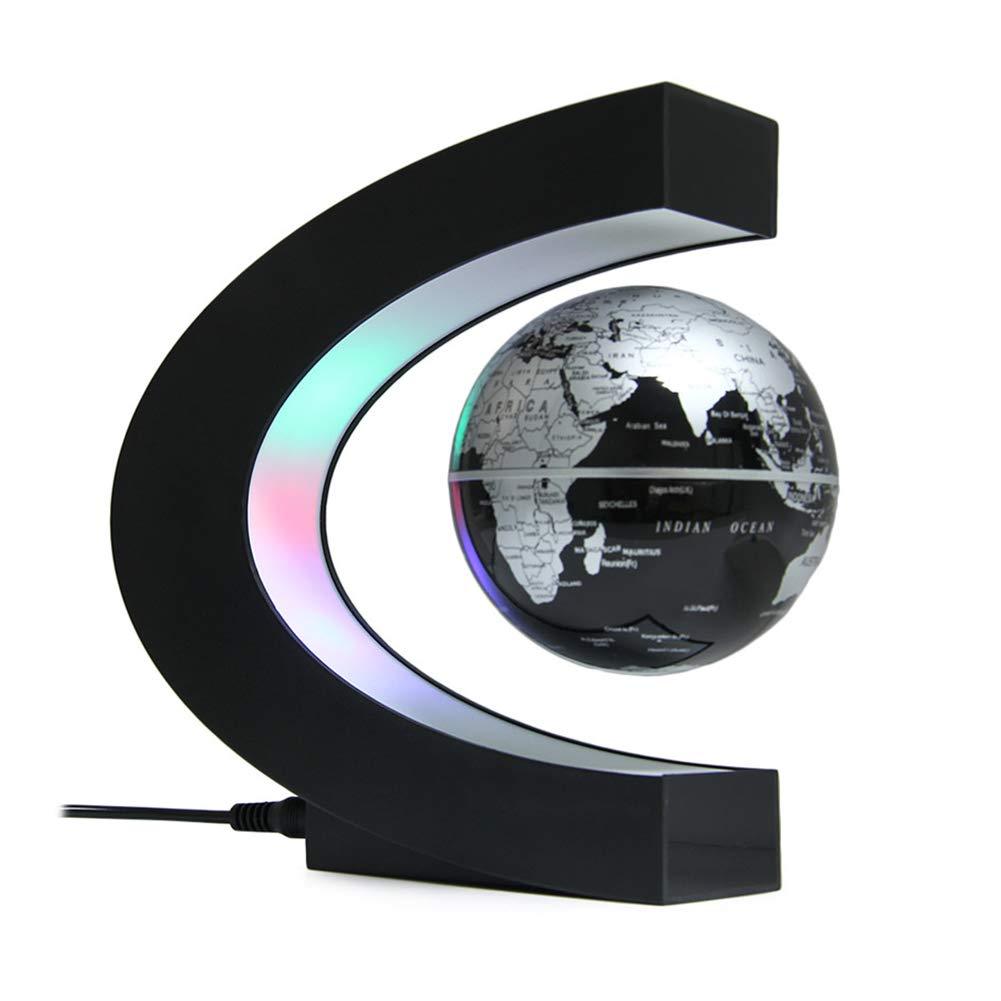 YZ-HODE Floating Globe mit farbigen LED-Leuchten C-Form Magnetschwebebahn Rotierende Weltkarte für Kinder Geschenk Home-Office-Schreibtisch-Dekoration (Schwarz)
