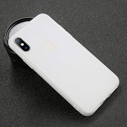 Fitted Cases - Phone Case For Iphone 7 6 6s 8 X Plus 5 5s Xr Xs Max Simple Solid Color Ultrathin Soft Tpu Case Candy Color Back Cover - For Iphone 6 6s Transparent White - Cute Pinguin