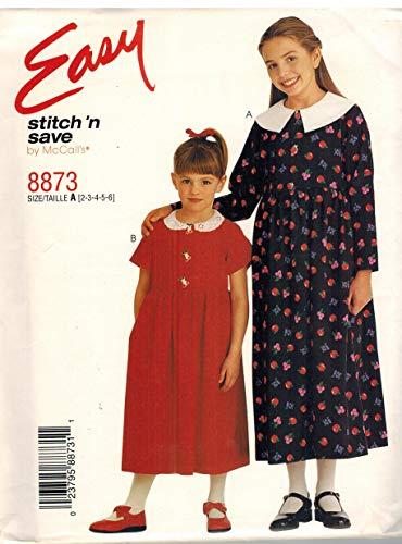 (8873 McCalls Sewing Pattern Girls Dress Front Button Bodice Easy Stitch n Save 7 8 10 12 14 )
