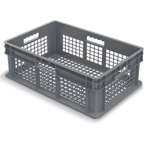 Akro-Mils 37608 24-Inch by 16-Inch by 8-Inch Straight Wall Container Tote with Mesh Sides and Mesh Base, Case of 4, Grey by Akro-Mils