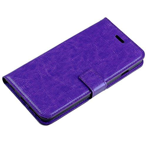 Protege tu iPhone, Para el iPhone 6 & 6sCrazy textura horizontal del caballo Flip caja de cuero con hebilla magnética & Holder & CardSlots & Wallet & PhotoFrame Para el teléfono celular de Iphone. ( C Púrpula