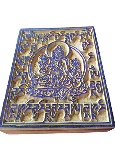 Hands of tibet Handmade Tibetan Green Tara (wood block) prayer - Green Tibet
