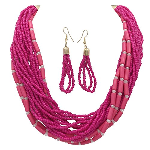 Gypsy Jewels Layered Seed Bead Multi Strand Statement Necklace & Dangle Earrings Set (Bright Pink Fuchsia) Clear Dangle Bead Earrings