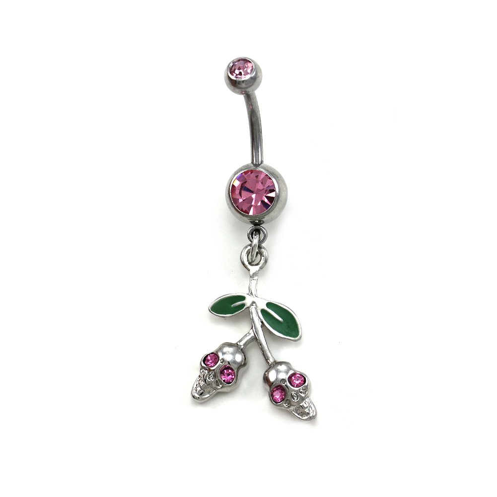 Pink Skull Crossbone Belly Ring Body Navel Ring Button 316L Surgical Steel Cherry Halloween Fashion Jewelry