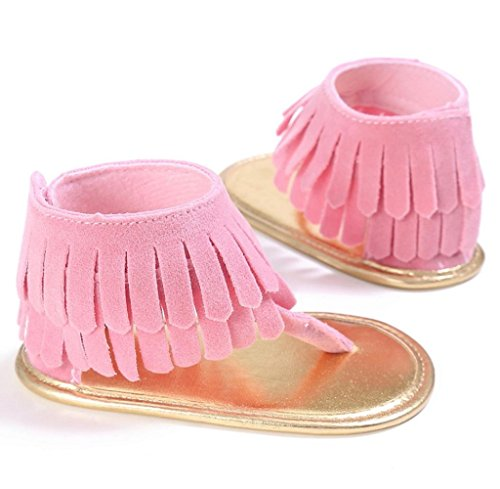 Zapatos de bebé,Tongshi Zapatos de niño niña cuna flor recién nacido bebé antideslizante suela suave zapatillas sandalias Rosa