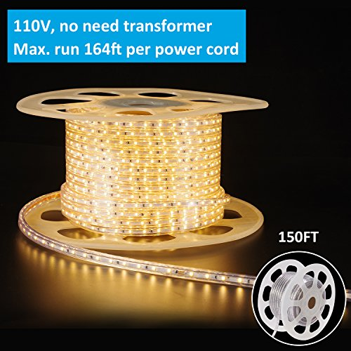 Shine Decor Led Strip Lights, Rope Light, High voltage 110V-120V, SMD 2835 60Led/M, 150ft/roll, 3000K Warm White, With plastic tube cover, flexible indoor/outdoor use, Accessories included by shine decor