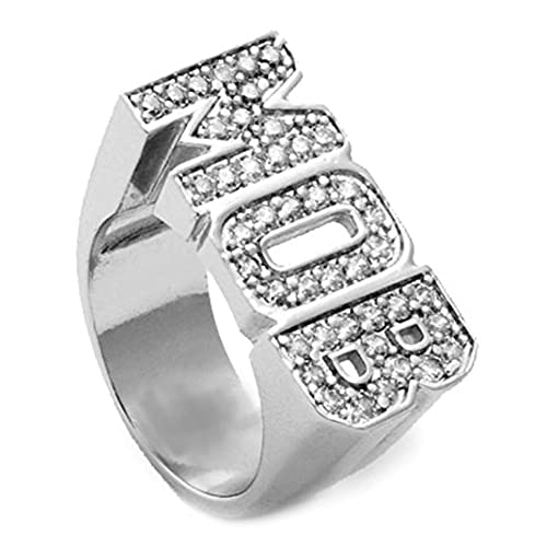GIFTS INFINITY Silver Tone CZ MOB MONEY OVER BITCHES Hip Hop Style Ring