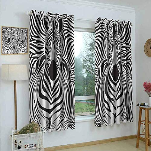 Gardome Decor Waterproof Curtains Zebra Print,Illustration Pattern Zebras Skins Background Blended Over Zebra Body Heads,Black White,Blackout Curtains for Bedroom,Nursery,Living Room 52 x72