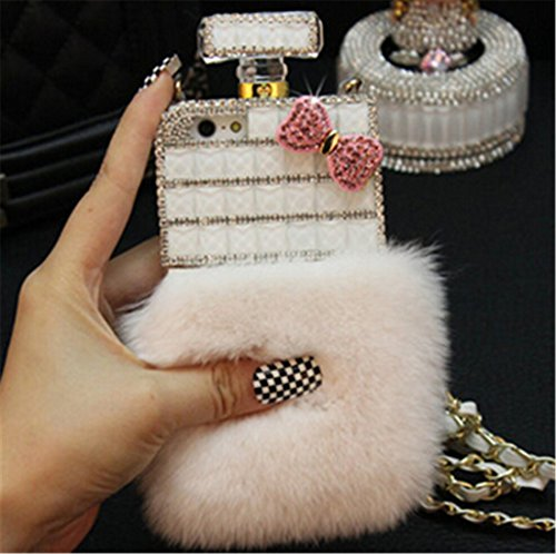Fusicase Luxury Perfume Bottle Design Bling Rex Rabbit Fur Bling Diamond Hair Sleeve Plush Back Case Cover for iPhone 6 Plus/6S Plus 5.5