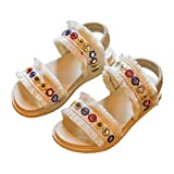 lakiolins Toddler Girls Open Toe Slip On 2 Strap Tassels Flat Sandals Summer Beach Shoes White Size 30