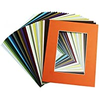 Golden State Art,  Pack of 25 11x14 Various Colors Picture Mats Mattes with White Core Bevel Cut for 8x10 Photo + Backing