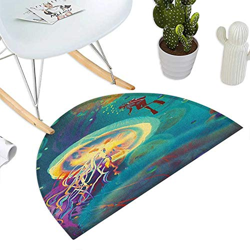 Fantasy Half Round Door mats Giant Jellyfish and Diver in The Sea Underwater Submarine Aquatic Artwork Print Bathroom Mat H 51.1'' xD 76.7'' Teal Purple