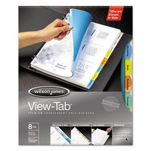 Wilson Jones View-Tab Transparent Divider - 8 x Tab - 8 / Set - Clear Divider - Multicolor Tab