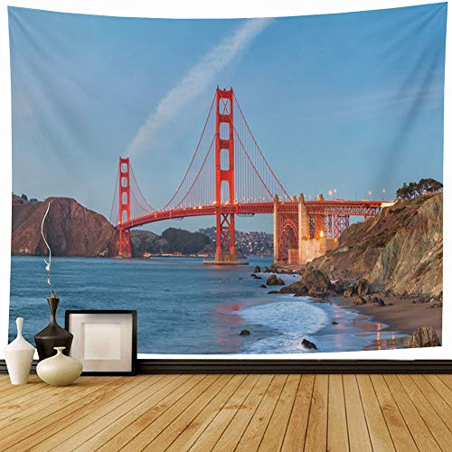 Onete Tapestry Wall Hanging 80x60 Inch Blue Structure Gate California Famous Ocean USA Bridge Sunset San Destination Twilight Coast Night Tapestries Bedroom Living Room Dorm Home Decor Wall Blanket