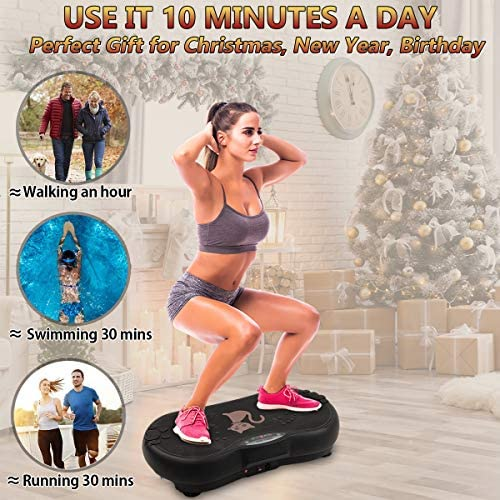 Ravs Vibration Plate Exercise Machine Whole Body Workout Machine Vibration Fitness Platform Machine Home Training Equipment with Resistance Bands, Remote Control and Max Load 330lbs 2
