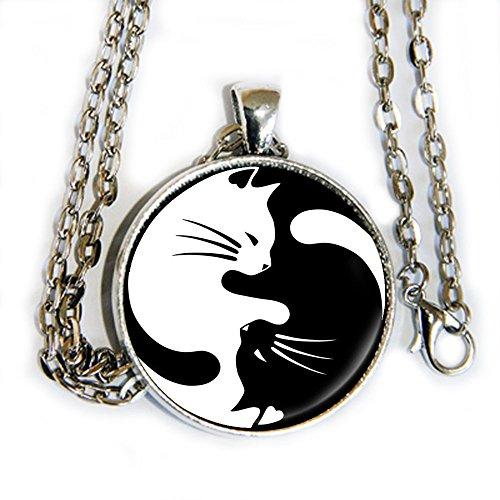 Yin Yang Kitty Cats - pendant necklace - -