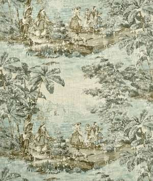 "54"" Wide Fabric ""Bosporus Color 197 Flax"" Covington Toile Fabric By the Yard"