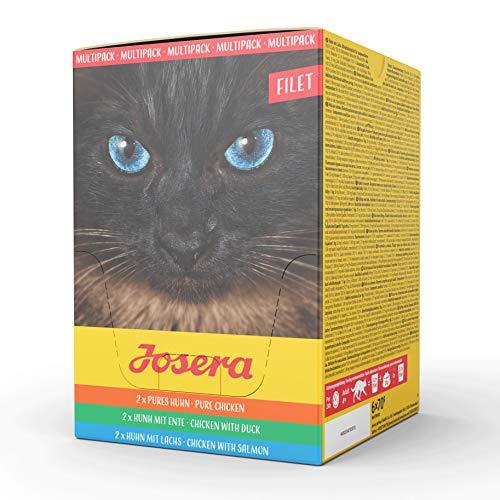 JOSERA Multipack Filet, getreidefreies Katzenfutter, Pures Huhn, Huhn mit Ente und Huhn mit Lachs, Super Premium Nassfutter für ausgewachsene Katzen, 6er Pack (6 x 70 g)
